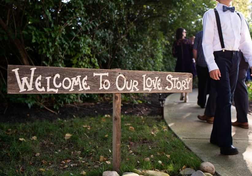 wedding love story wooden sign