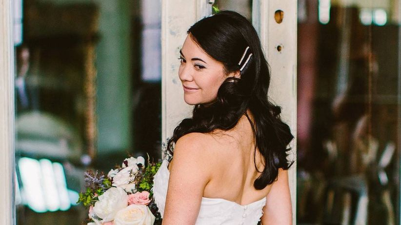 bride with barrettes