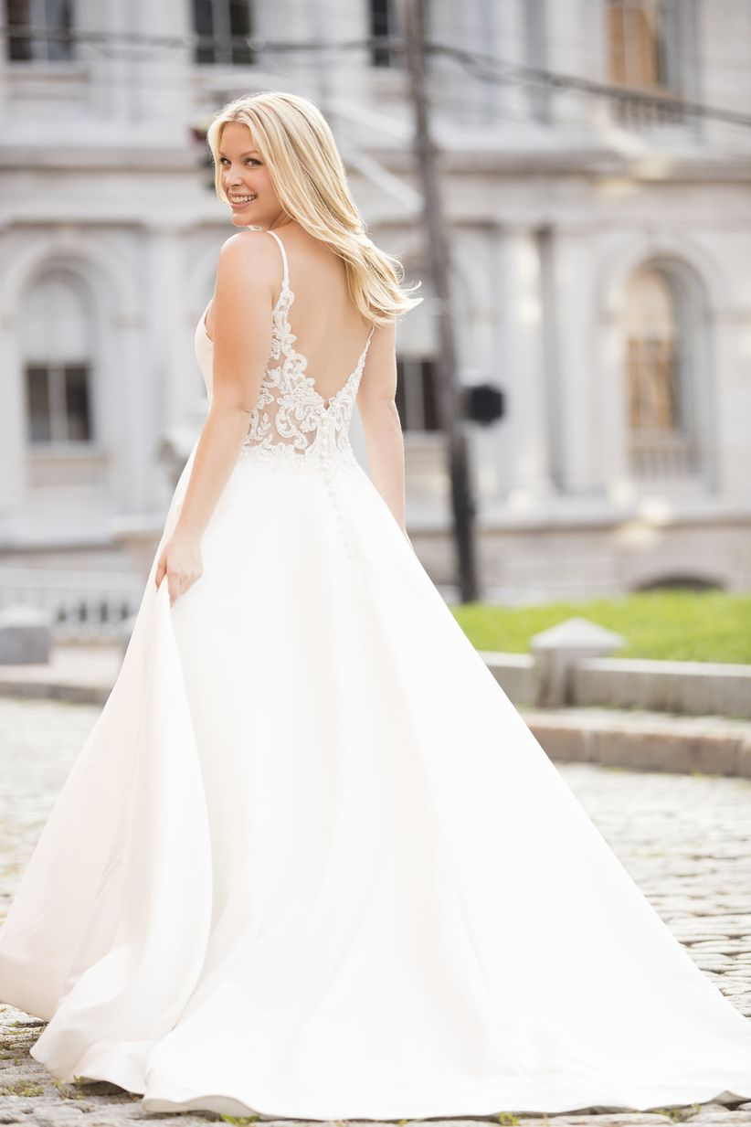 lace back a-line wedding dress