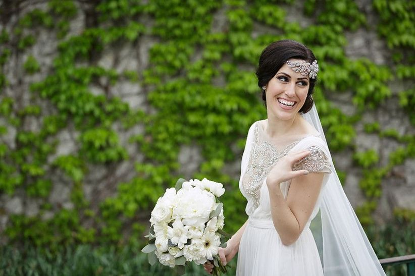 bride in vintage wedding dress