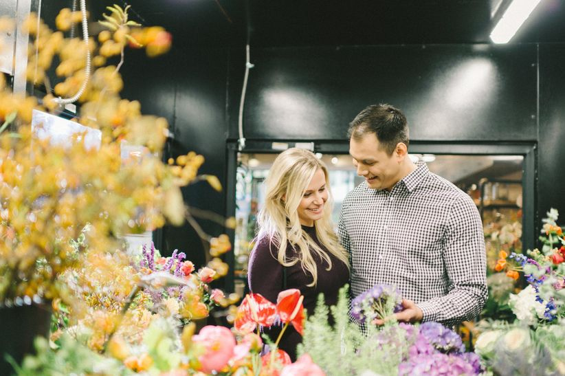 couple shopping for wedding flowers