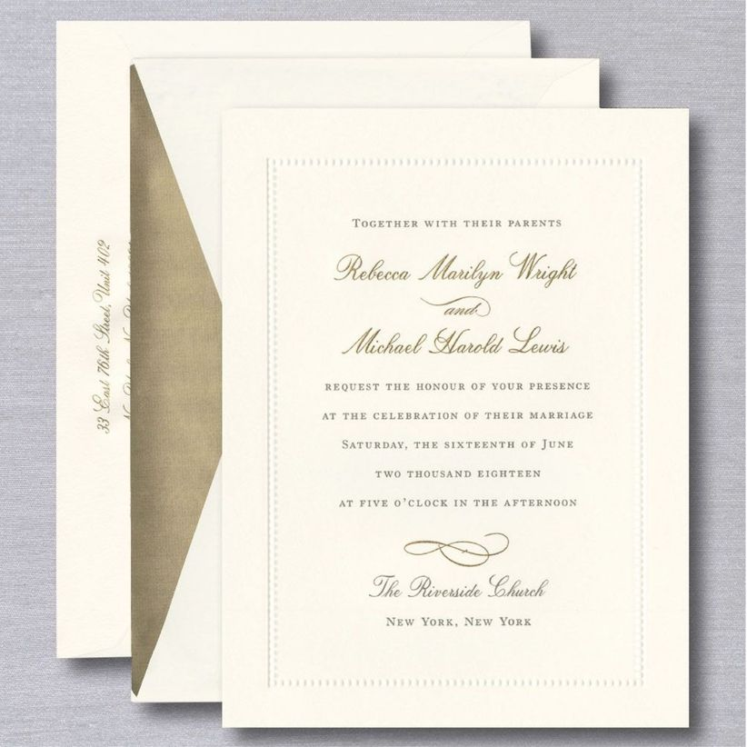 gold and cream crane wedding invitations