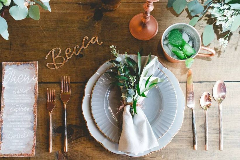 wedding place setting wooden table