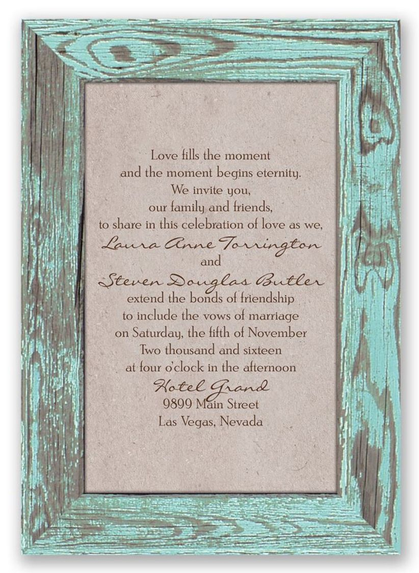 rustic wood frame wedding invitaitons