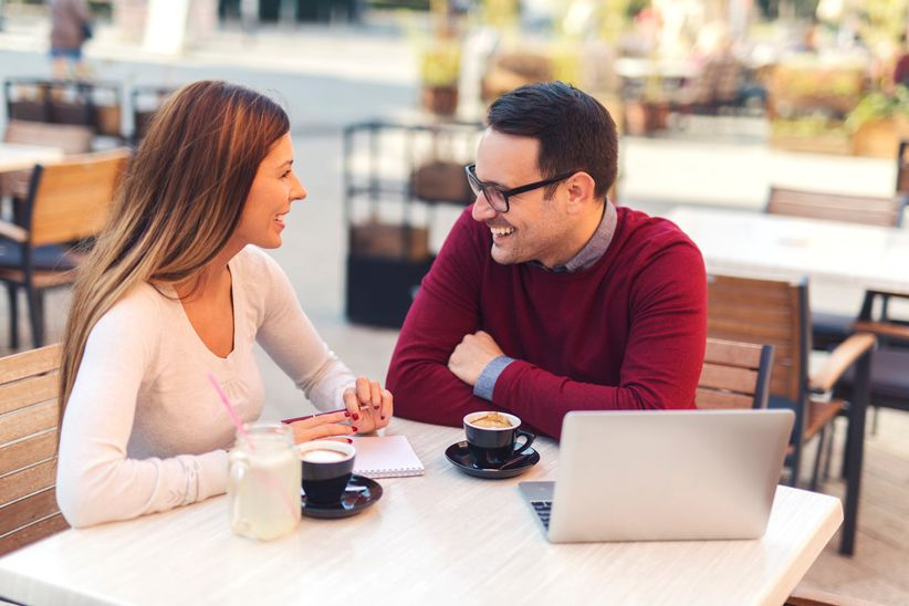 couple talking about wedding budget
