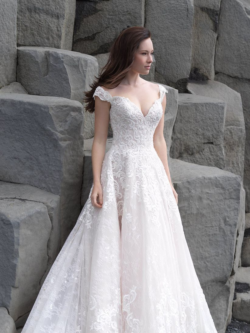 bride wearing romantic lace and organza wedding dress