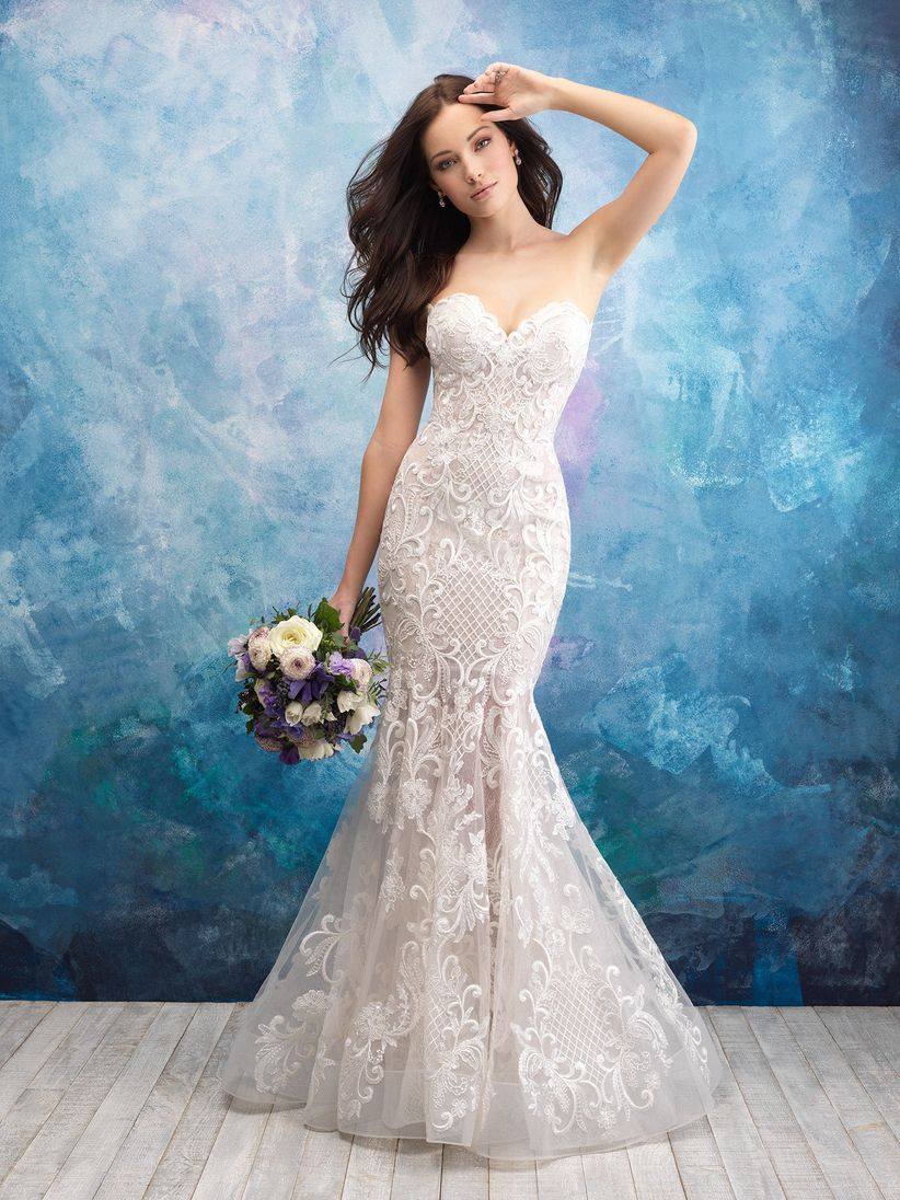 7b43e5745609 Opt for an unembellished satin mermaid gown like this one (Style 9416) and  then add a bridal cape to achieve a fashion-forward look.