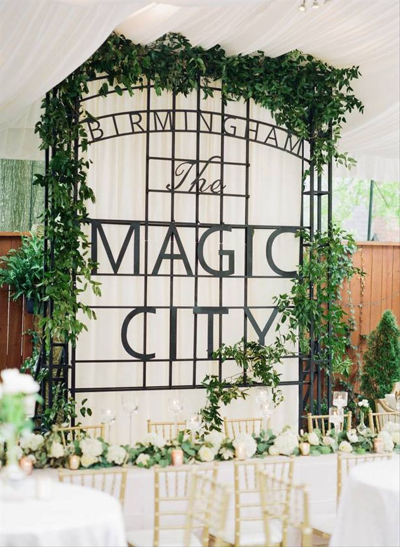 wedding reception in birmingham, AL with head table and magic city sign
