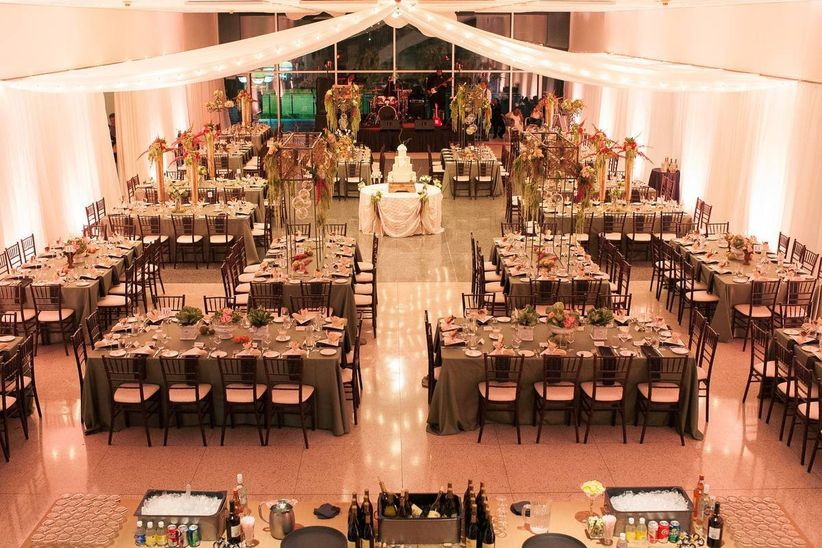 modern wedding reception with rectangular banquet tables