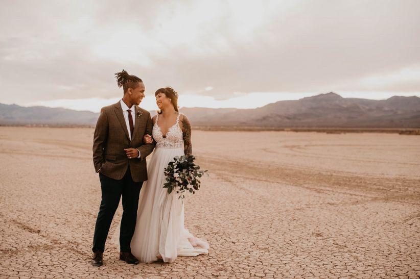 bride and groom standing in desert las vegas elopement