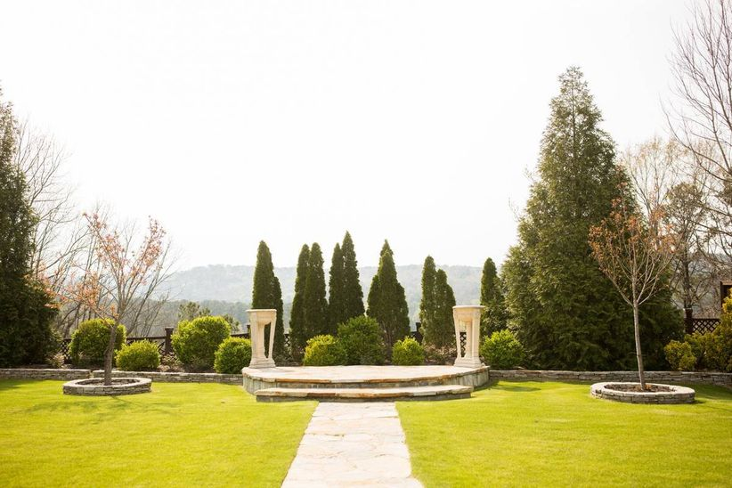 outdoor garden wedding venue with view of mountains