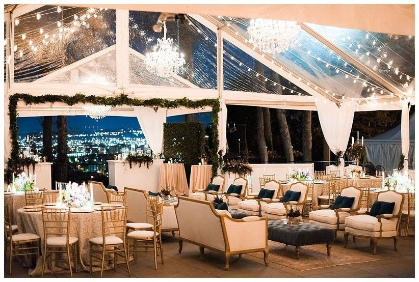 outdoor wedding reception at night with clear top tent and romantic string lights