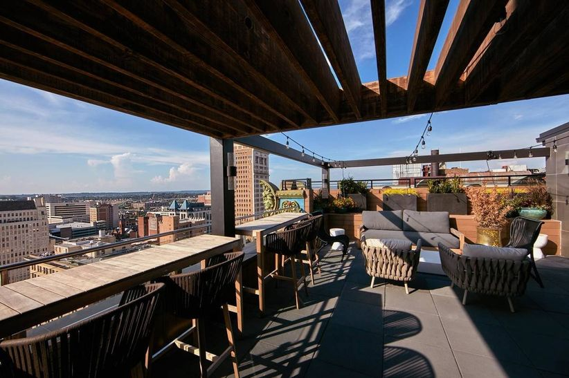 rooftop wedding venue in downtown Birmingham with outdoor bar and views of city skyline