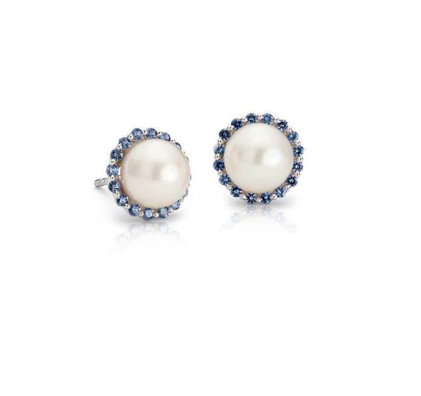pearl blue halo earrings