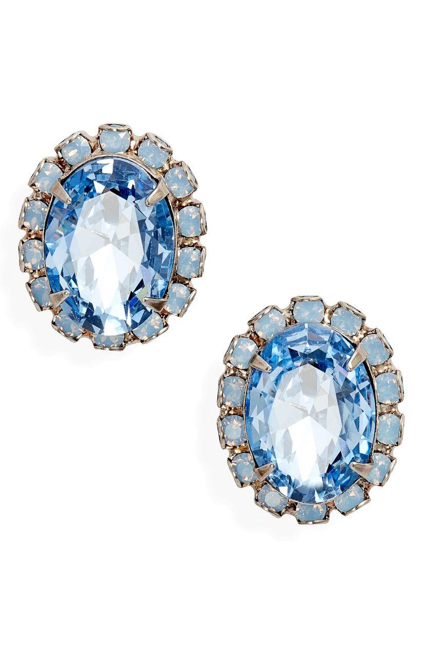 blue halo earrings
