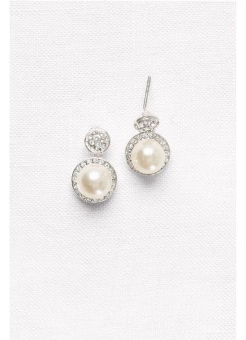 davids bridal pearl drop earrings