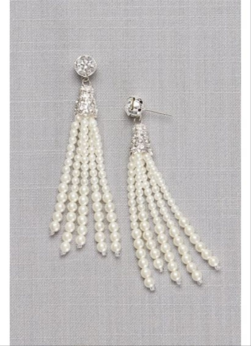 pearl tassel earrings davids bridal