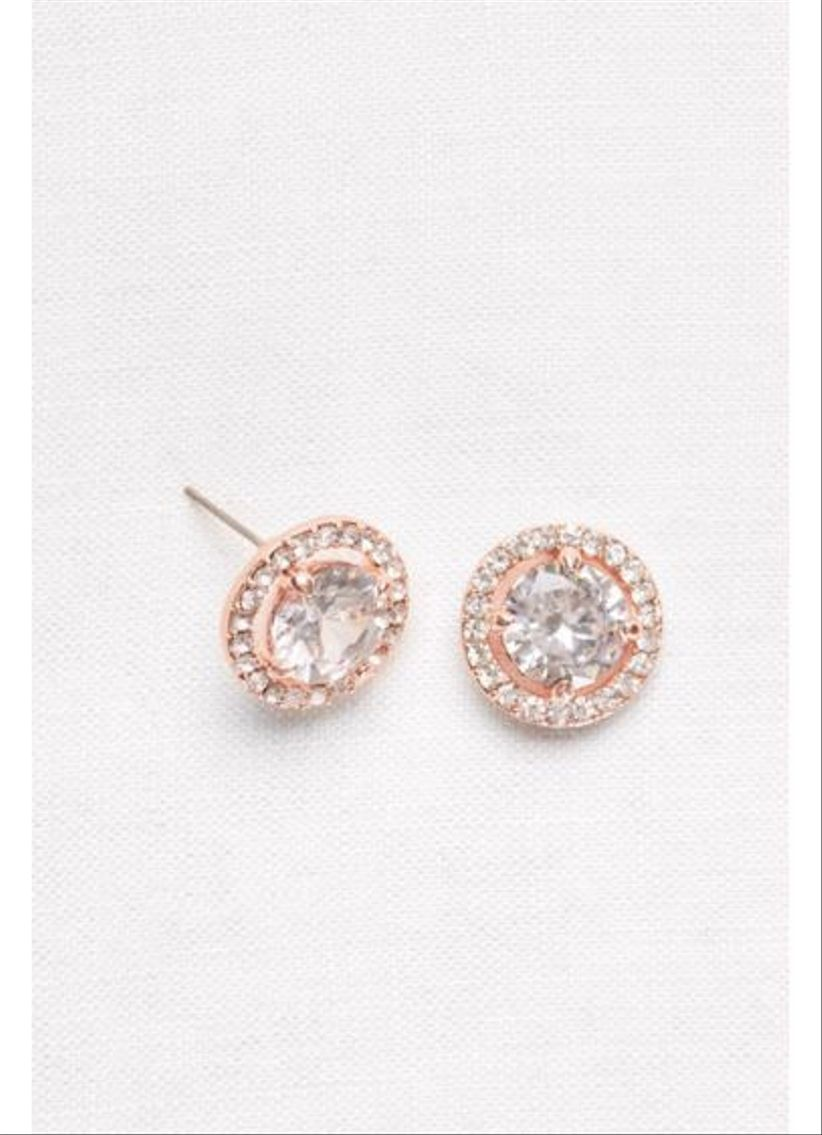 davids bridal pave crystal button studs