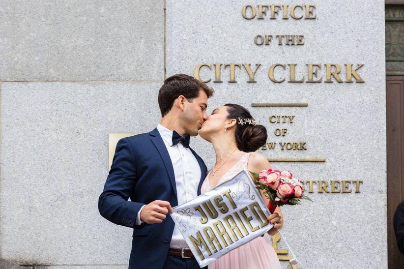 couple outside city hall