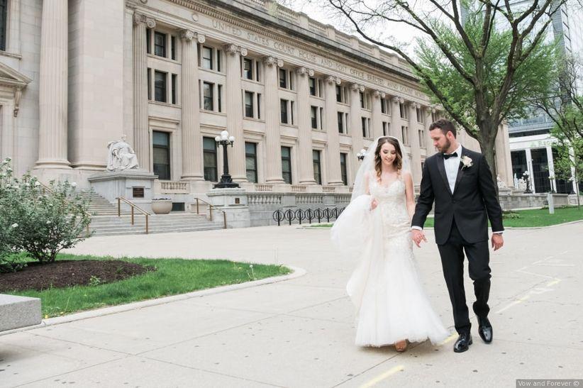couple walking wedding