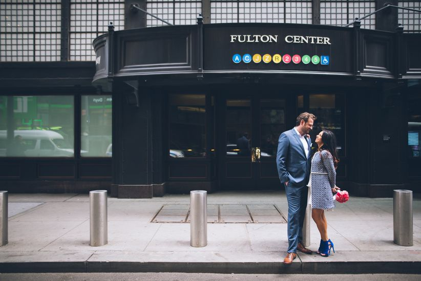 couple outside subway station in nyc