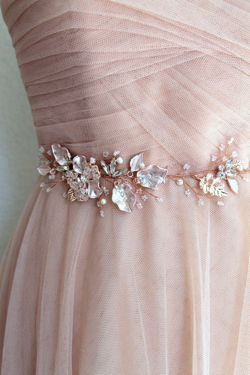 rose gold crystal belt