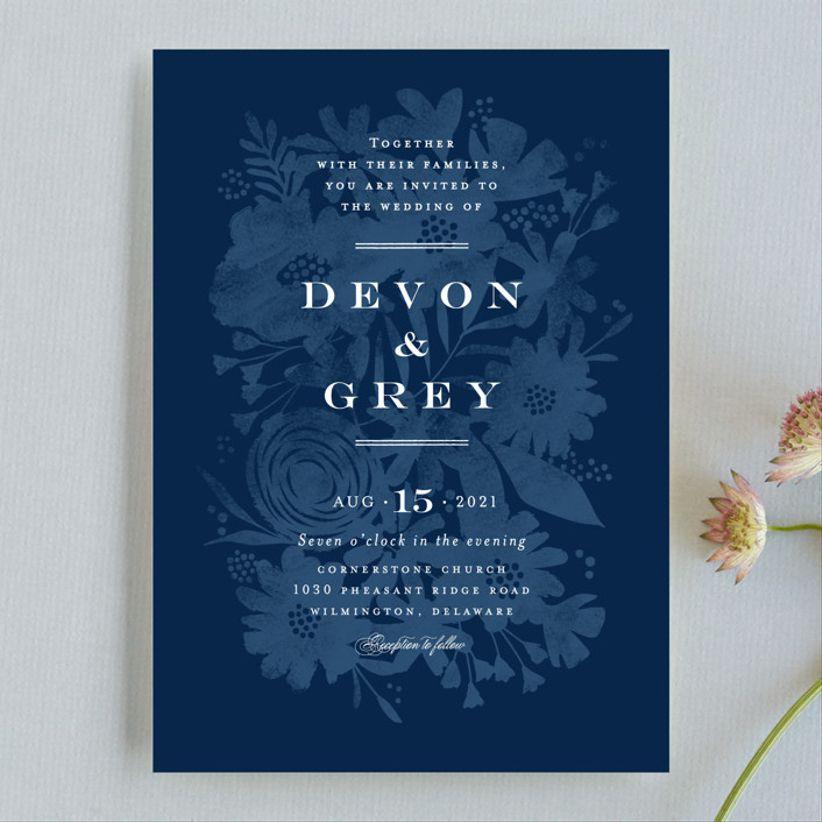 floral screenprint wedding invitations minted