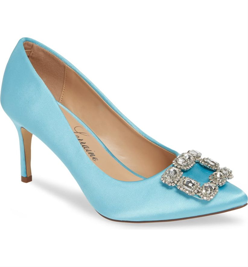 622a790b33 Many brides see their shoes as an opportunity to add a pop of color to  their wedding-day look. We adore these blue satin pumps with dazzling  crystals on the ...