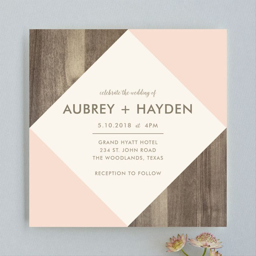 Johanna McShan Modern Barn Wood wedding invitations