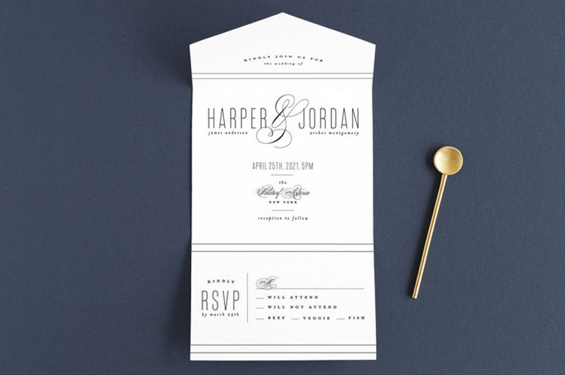 Roxy Cervantes Scripted Ampersand wedding invitations