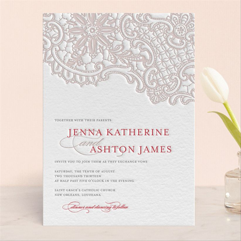 Lauren Chism White Lace wedding invitations