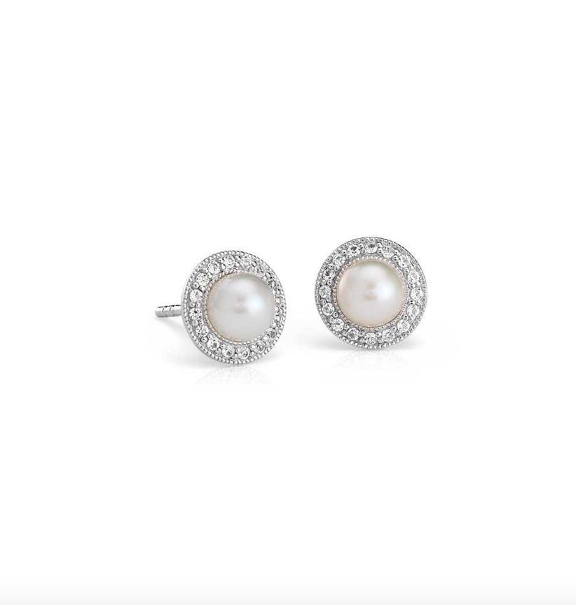 pearl halo earrings