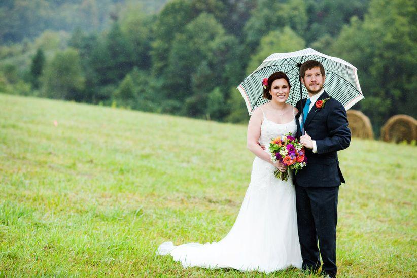 wedding couple holding umbrella