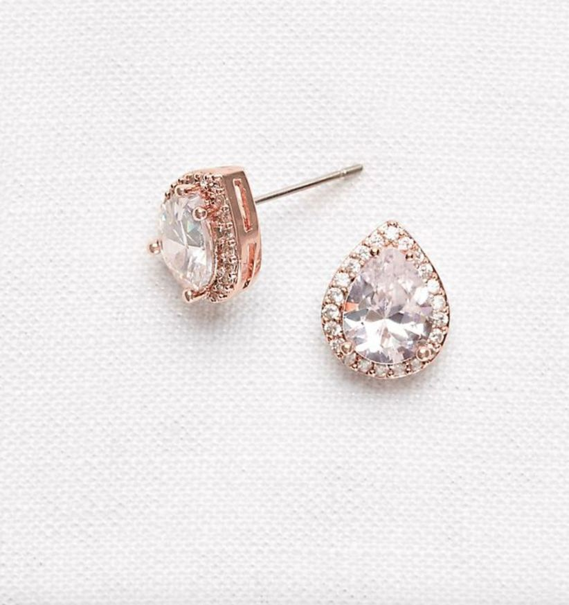 rose gold pear studs