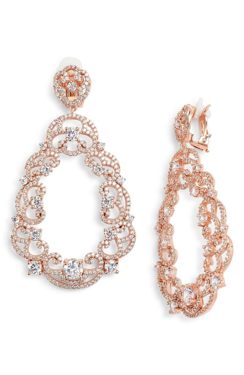 rose gold scroll earrings