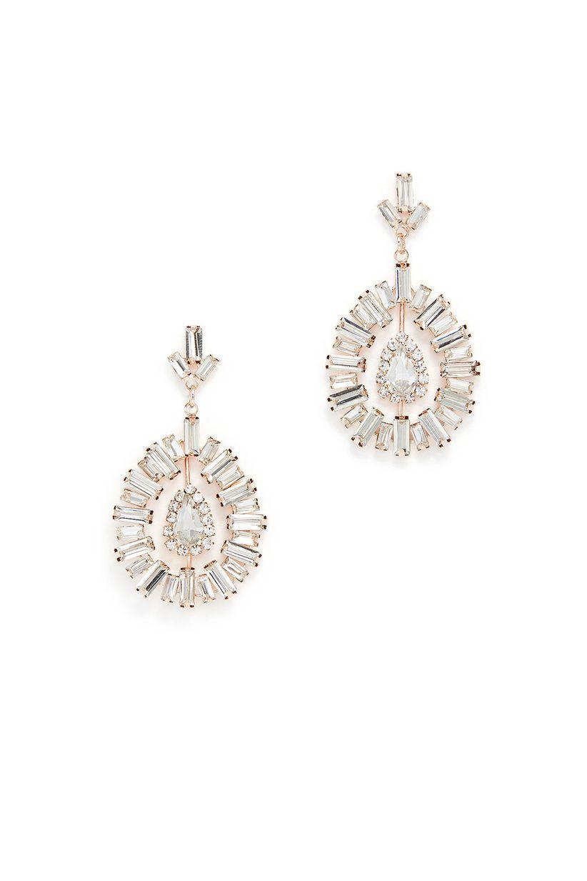 rose gold art deco earrings