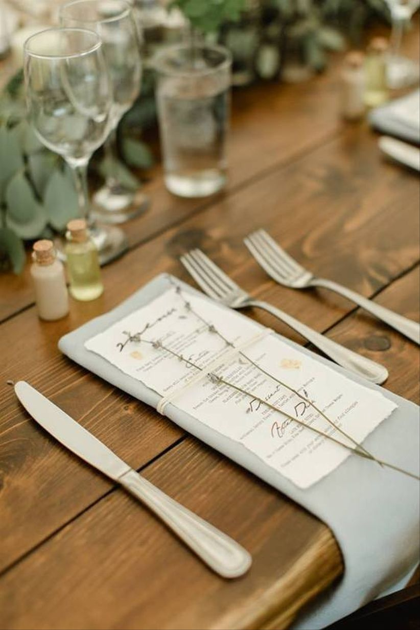 rustic wedding menu place setting