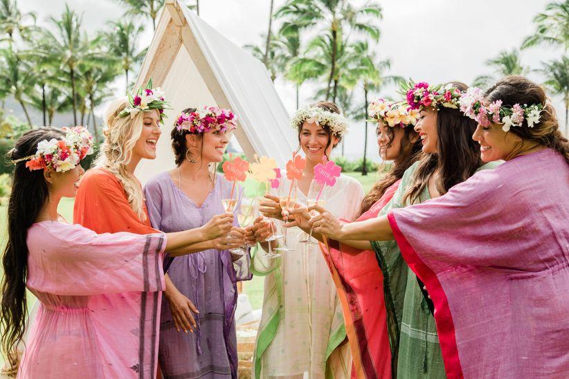 bridesmaids toasting bridal shower