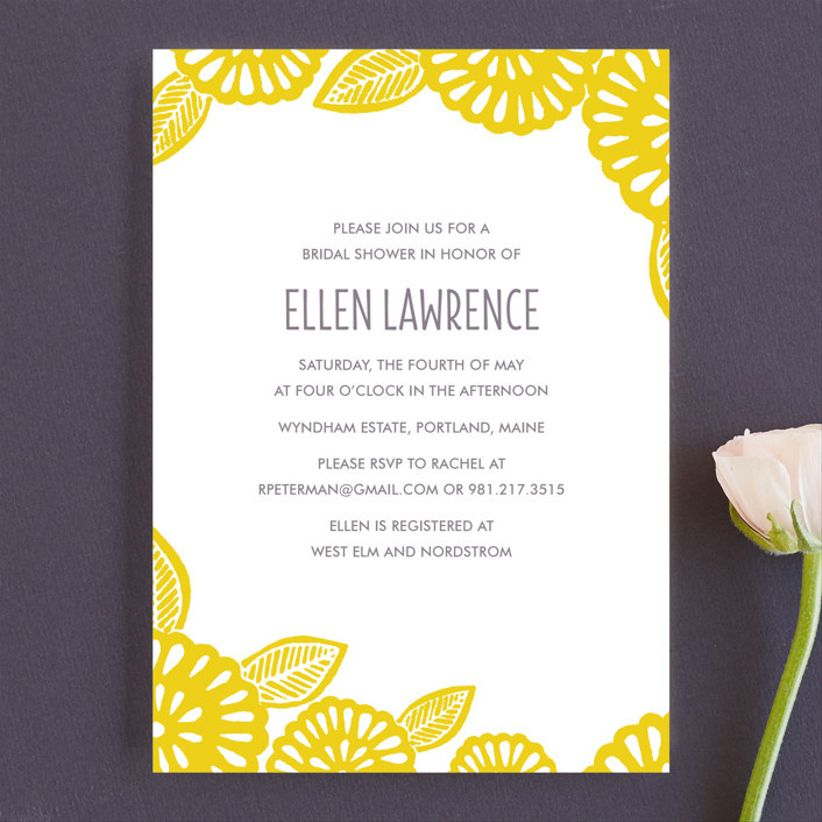 block floral invitation