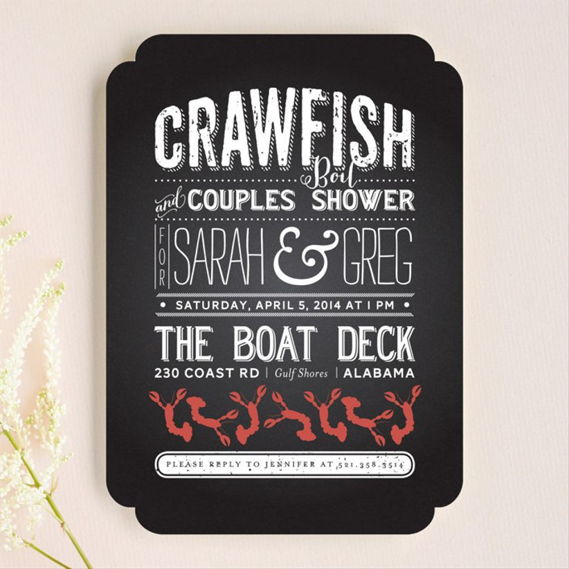 crawfish wedding invitation