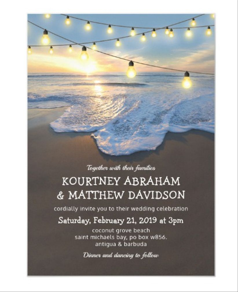 string lights beach invitations