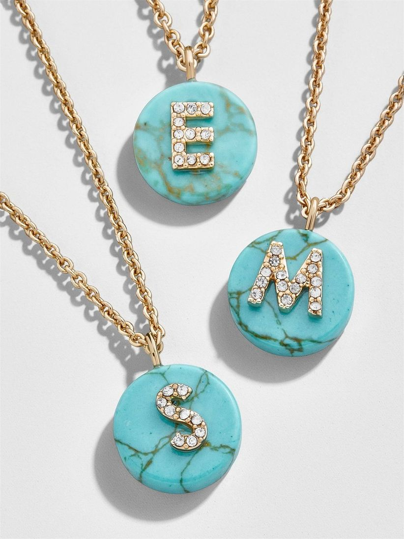 turquoise necklace charm initial