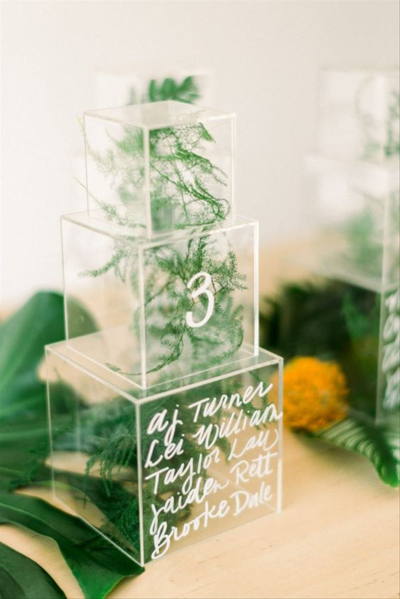 acrylic box table numbers