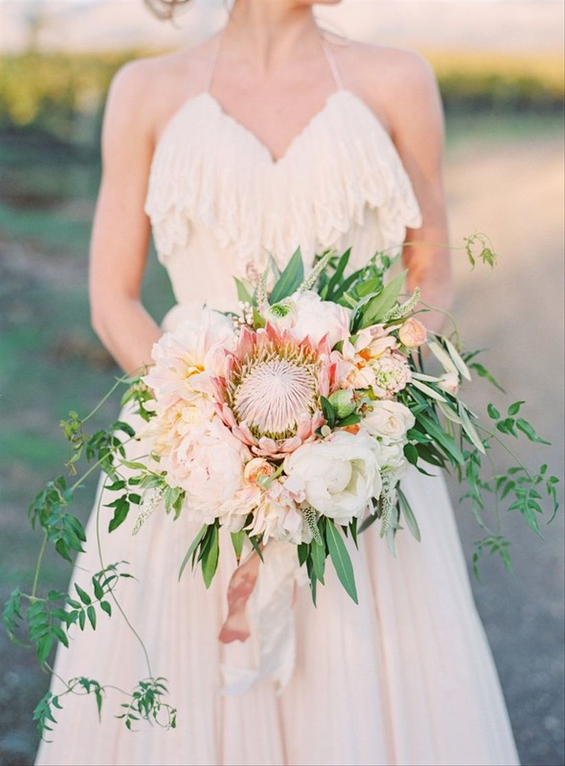 pink king protea summer wedding bouquet