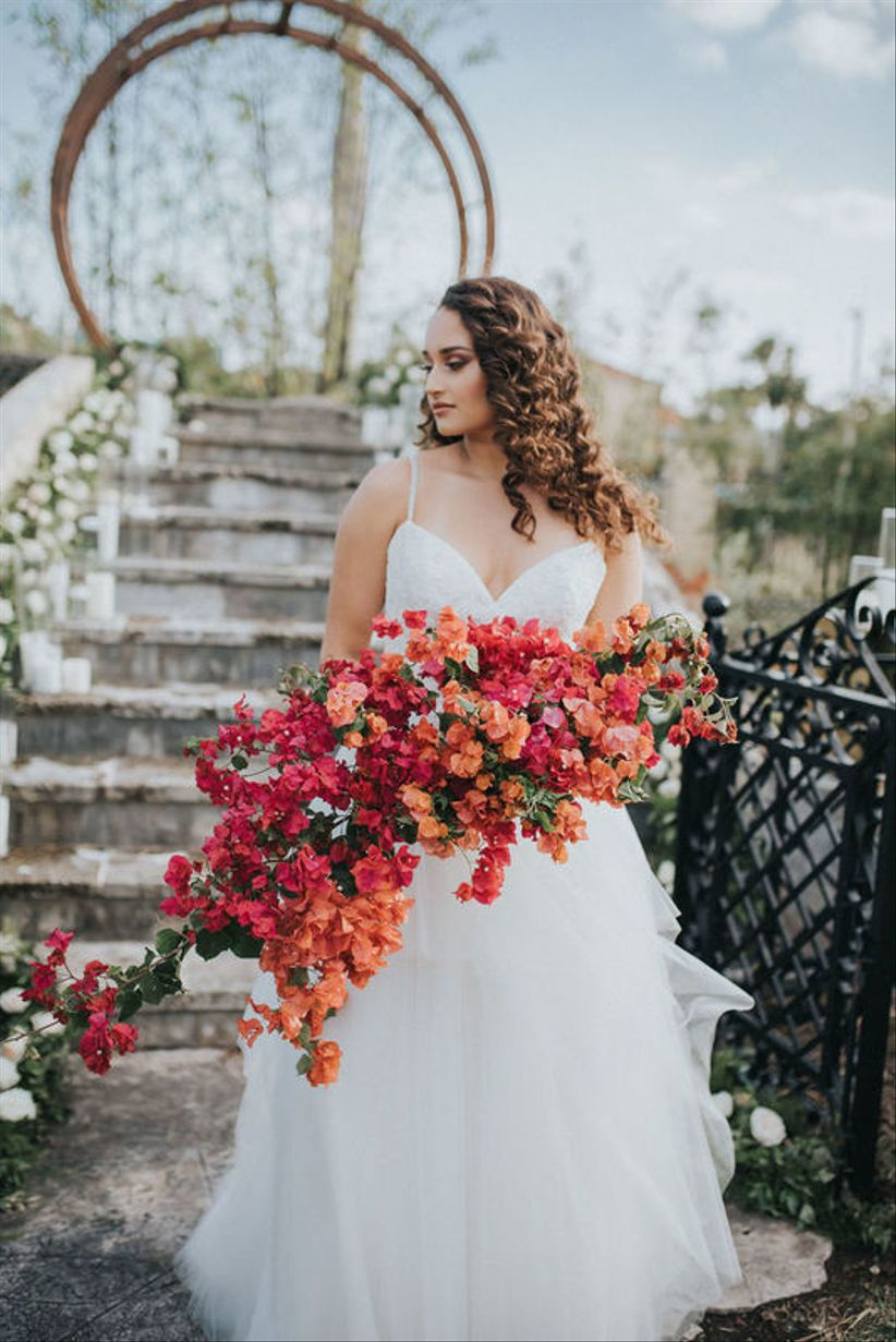 pink and orange bougainvillea summer wedding bouquet