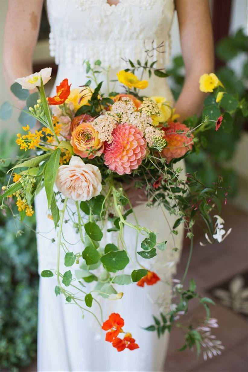 pink and orange wildflower summer wedding bouquet