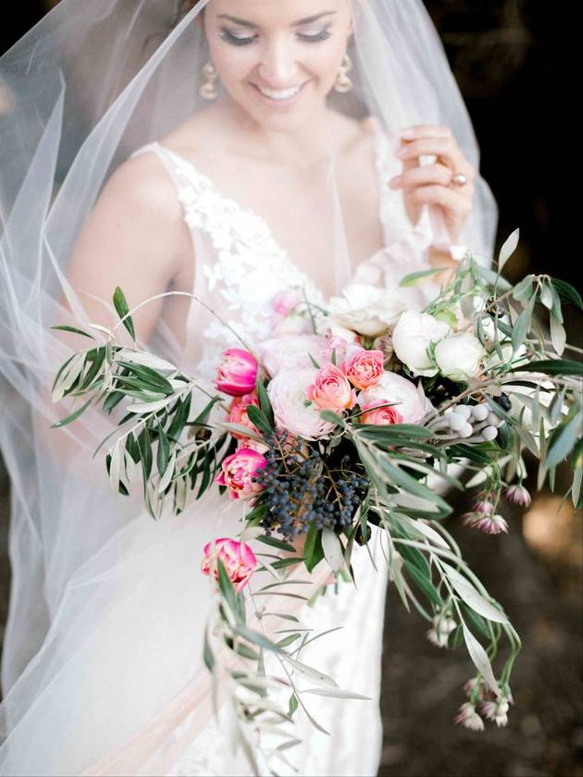 pink rose wedding bouquet with olive branches