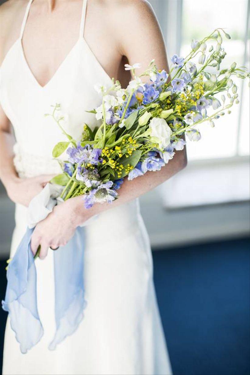 blue delphinium wedding bouquet