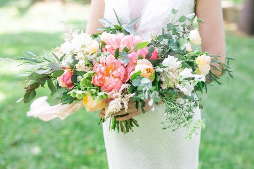 coral charm peony wedding bouquet