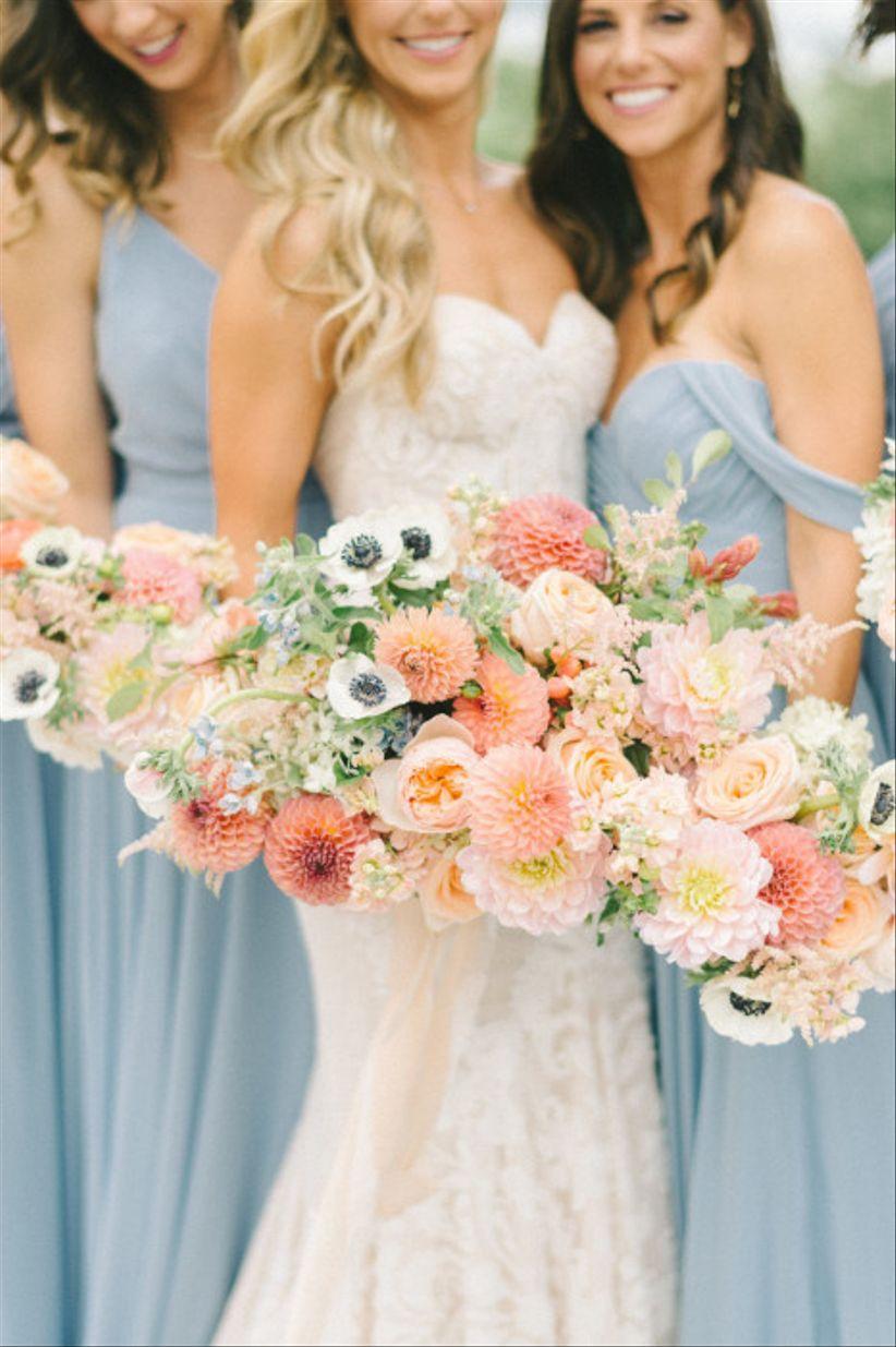 dahlia and anemone summer wedding bouquet
